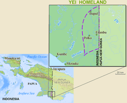 Yei, Je of Papua New Guinea map