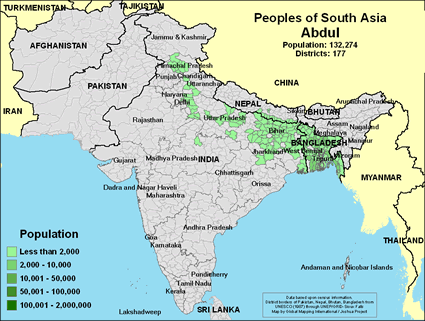 Abdul in India map