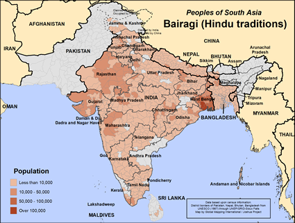 Bairagi, Hindu of Bangladesh map