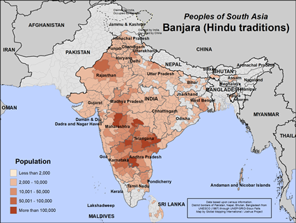 Banjara, Hindu of Nepal map