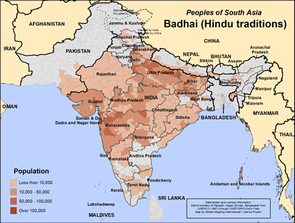 Badhai, Hindu of Nepal map