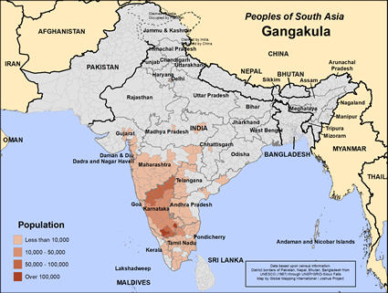 Gangakula of India map