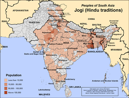 Jogi, Hindu of Bangladesh map