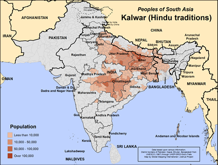 Kalwar, Hindu of Bangladesh map