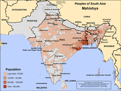 Mahishya of India map