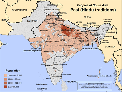 Pasi, Hindu of Nepal map