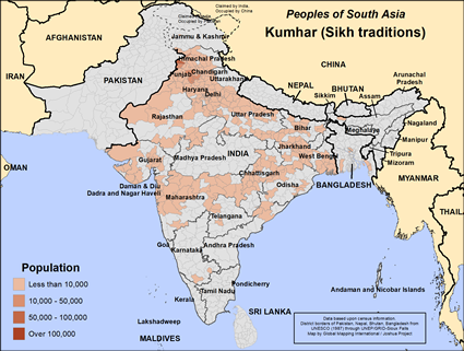 Kumhar, Sikh of India map