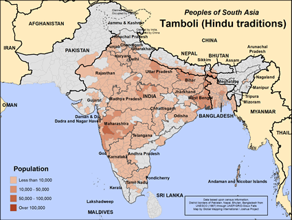 Tamboli, Hindu of Nepal map