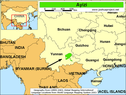Ayizi of China map