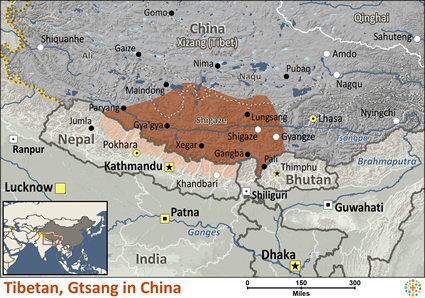 Tibetan, Gtsang of China map
