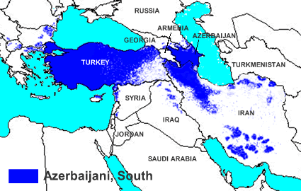 Azerbaijani, Azeri Turk of Turkey map