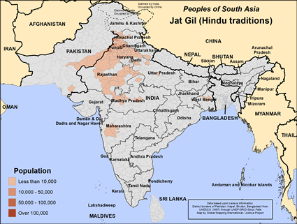 Jat, Gil, Hindu of India map