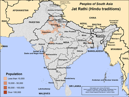 Jat, Rathi, Hindu of India map